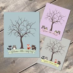 Forest Friends Thumbprint Guest Tree Poster, Rustic Baby Shower by EvergreenandWillow, Racoon, Fox, Owl and Bear. Dark Brown Tree and a blue, purple or gray background color. Set this out at a welcome table for guests to sign and frame for your nursery! Printed on ultra premium presentation paper and mailed in a protective sleeve and rigid cardboard mailer.