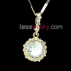 Fashion crystal and Rhinestone beads decorated pendant necklace