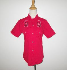 Vintage 1950s 1960s Red Western Blouse With Embroidered Horseshoe Design By Westerner By Fleetline - Size S, M by SayItWithVintage on Etsy