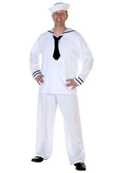 Get this Men's White Sailor Costume and get ready to swab the decks! You'll have a truly nautical look!