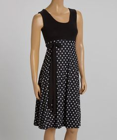 Look at this #zulilyfind! Black & White Dot Tie-Waist Sleeveless Dress #zulilyfinds