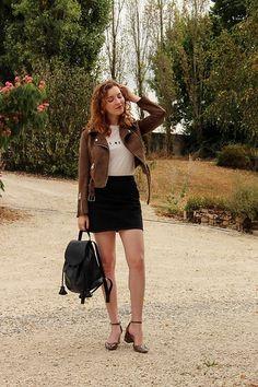 Summer Read - Zara Brown Biker Jacket, Mango White Tshirt, Topshop A Line Black Skirt, Zara Black Backpack, Zara Khaki Mary Janes - In Tees We Trust
