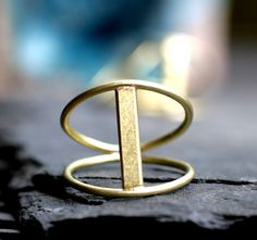 modern ring gold bar minimalist satin brass double band simple cocktail ring