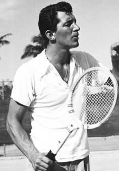 Dean Martin. With a tennis racket. A.K.A. THIS PICTURE COULD NOT GET ANY BETTER.