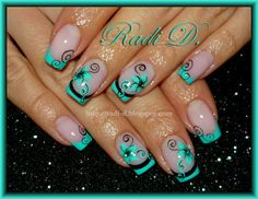 It`s all about nails: Mint French & Flowers http://radi-d.blogspot.com/2014/03/mint-french-flowers.html