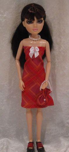 """MOXIE TEENZ 14"""" Doll Clothes #26 Handmade Dress, Beaded Necklace & Purse Set #HandmadebyESCHdesigns"""