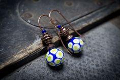 lampwork glass beads earrings tribal earrings dot by entre2et7