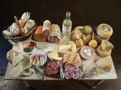 dollhouse Miniature table set up. with Italian cheese and salami by bagusitalyminiatures on Etsy https://www.etsy.com/listing/231895799/dollhouse-miniature-table-set-up-with