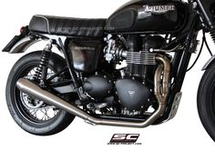 Full system with conic silencer for the Bonneville. Triumph Bonneville, Exhausted