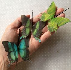 Soft - Handmade Cotton and Silk Organza Green Papilio Swallotail Butterflies Hair Bobby Pins - 3 pieces by TheButterfliesShop on Etsy