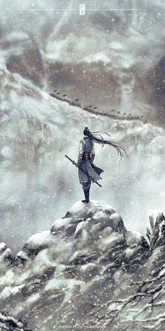 by Chinese illustrator Ibuki Satsuki 伊吹五月. Chinese Artwork, Japanese Painting, Samurai Artwork, Art Asiatique, Fantasy Male, China Art, Human Art, Fantasy Landscape, Paisajes