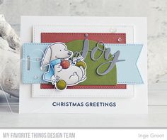 Stamps: Happy Pawlidays, Snow Globe Sentiments | Die-namics: A2 Stitched Rectangle STAX, Happy Pawlidays, Joy, Snow Globe, Tall Tag Duo — Inge Groot #mftstamps