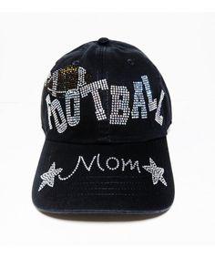 3ddcb105d83 Rhinestone Football Mom Black Baseball Cap Hat Headwear Sports C011NS0TJHL