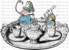 Tea Tray Alice and the White Rabbit Digital Graphic Download-tea towels, aprons, tea party invitations, tee shirts no 0002