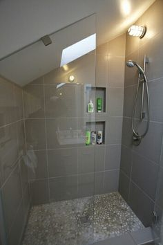 Attic Bathroom Ideas Sloped Ceiling Best Of Shower with A Slanted Ceiling Attic Shower, Small Attic Bathroom, Loft Bathroom, Tiny Bathrooms, Upstairs Bathrooms, Bathroom Renos, Bathroom Layout, Bathroom Renovations, Master Bathroom