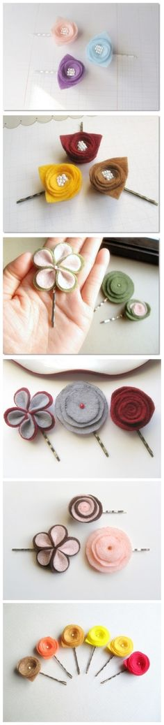 Felt Hair Pins! I DON'T understand this site ... there are NO instructions or tutorials. Fortunately, the pictures speak a thousand words. : )