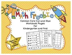 """FREE! Kindergarten and First Grade Math Cut-and-Glue Workbook Pages (FREE!)These pages are a sample of similar pages that can be found in my kindergarten and first grade sets of """"Math Common Core Cut-and-Glue Workbooks."""" These pages have a similar format, yet they contain different problems and even have a different theme from my other products."""