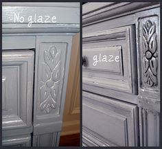 Need to remember this for the chairs I am refinishing ... glaze makes a huge difference in carved furniture redos