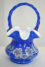 Fenton Blue Handpainted Basket Signed by Bill Fenton The Glass Legacy Collection