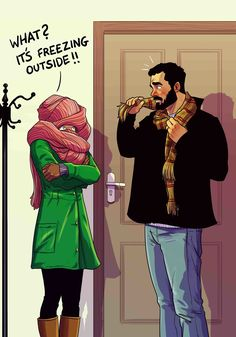 The Scarf // http://www.boredpanda.com/relationship-illustrations-yehuda-devir/?page_numb=2