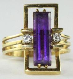 VTG 1950'S MID CENTURY MODERNIST 18K GOLD AMETHYST DIAMOND RING SIZE 7.5