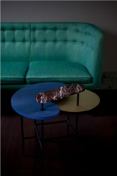 Palette table JH8 by Jaime Hayon styled together with Mayor sofa by Arne Jacobsen for &tradition.