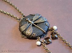 Dragonfly necklace with lava stone, pearls and smoky quartz by BeataViscera Design. www.beataviscerajewelry.com
