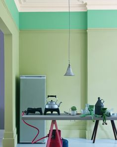 Kitchen Painted In Farrow & Ball Mizzle, Dix Blue, Wimborne White, Manor House Gray And Porphyry Pink Farrow Ball, Color Inspiration, Interior Inspiration, Kitchen Inspiration, Two Tone Walls, Interior And Exterior, Interior Design, Color Of Life, Color Trends