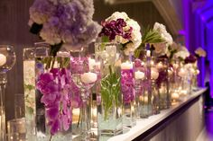 Flowers and candles #wedding #decor