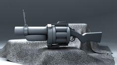 Rendu clay de la modélisation 3D Cinema 4D d' une arme issue du jeux Team Fortress 2: le Grenade Launcher.