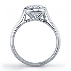 18K White Gold Vatche Bezel X-Prong  Engagement Setting for a Round Diamond Style # 183-IEJD
