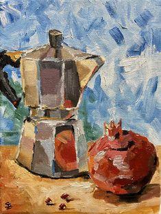 Coffee pot pomegranate painting still life kitchen decor Life Kitchen, Kitchen Decor, Painting Still Life, Painted Pots, Winter Art, People Art, Freelance Illustrator, Oil Painting On Canvas, Pomegranate
