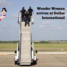 Wonder Woman arrives at Dulles International Airport. Funny. DC Comics.