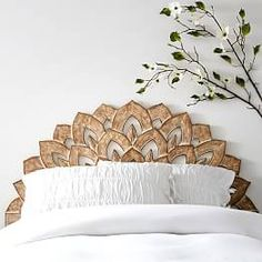 Exotic and beautiful wooden headboard with peacock / leaf pattern. No Nails Wood Carved Faux Headboard. Add a timeless dash of style to your sleep space! Our Wood Carved Faux Headboard is a smart, fuss-free way to dress your dorm room in so-chic style. Faux Headboard, Headboards For Beds, Bohemian Headboard, Unique Headboards, Wood Carved Headboard, Carved Wood, Bed With No Headboard, Girls Headboard, Bohemian Bedrooms