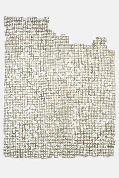 """Divest"" Shredded money, thread, 32 x 25 inches, 2017 by Lisa Kokin"