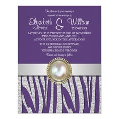 Exotic Silver Zebra Pattern Wedding Invitation