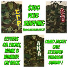 Quickly becoming a Fan Favorite,we are offering ourCustom Greek Camo Jackets for $40 OFF REGULAR PRICE UNTIL 6/24!!! (OR until we get 24 orders, whichever comes first).    Get YOUR order in TODAY for $100 (plus $7.50 for shipping).    Greek Letters onfront left chest,Line Name & Number on back. (Greek letters will include two main organization colors for letters and outline. Name & Number on back will include 1 of the organizations main colors.)    ONLY TAKING 24ORDERS! Once they are…