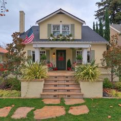 Straw Yellow House Paint and sage trim is a good color scheme for our California house