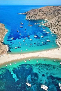 🇬🇷 Double the pleasure . Kolona beach in Kythnos island, Cyclades, Greece Mykonos, Cyclades Islands, Greece Islands, Dream Vacations, Vacation Spots, Places To Travel, Places To Visit, Destination Voyage, Most Beautiful Beaches