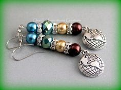 Brown Blue and Green Earth Day Earrings by CICinspireme on Etsy, $12.00