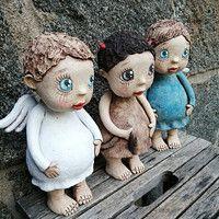 Prodané zboží   Fler.cz Pottery Sculpture, Paper Mache, Garden Sculpture, Teddy Bear, Pasta, Clay, Illustrations, Dolls, Animals