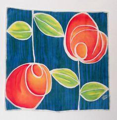 Pañuelo de seda natural pintado a mano.Rosas de SEDA PINTADA AZIZA PUCH    Aziza's silk scarves por DaWanda.com Painted Paper, Hand Painted, Painted Silk, Batik Art, Silk Art, Painted Leaves, Abstract Flowers, Art Plastique, Paint Designs