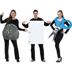 Show up to a Halloween party with your favorite crew in the Rock Paper Scissors Halloween Costume. This whimsical costume features 1 paper costume, 1 scissors costume, and 1 rock costume and will ensure that you never show up stag again. Three Person Halloween Costumes, Trio Costumes, 3 People Costumes, Couples Halloween, Theme Halloween, Halloween Costume Contest, Family Halloween Costumes, Group Costumes, Cool Costumes