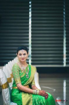 Green bridal silk saree