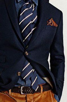 Undersized, but nice navy blazer w/ drab blue dress shirt & matching necktie (diagonal cream stripes) + caramel slacks & matching kerchief