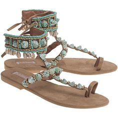 HOT LAVA Tribal Sand Green // Suede leather sandals ($170) ❤ liked on Polyvore featuring shoes, sandals, green shoes, hippy shoes, tribal shoes, hippie shoes and tribal print sandals