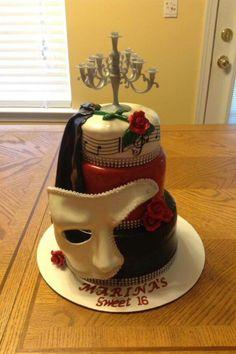 Phantom of the opera 13 Birthday Cake, 17th Birthday, Fantom Of The Opera, Broadway Party, Opera Cake, Music Of The Night, Sweet 16 Parties, Eat Dessert First, Fancy Cakes