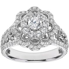 Simply Vera Vera Wang Diamond Flower Engagement Ring in 14k White Gold... ($2,450) ❤ liked on Polyvore featuring jewelry, rings, white, white gold rings, round engagement rings, flower ring, 14k ring and floral engagement rings