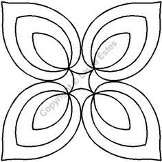 """Continuous Line Quilting Stencils > 7"""" - 8"""" Block C.L. - Item: 7"""" Hosta Medallion on QuiltingCreations.com"""