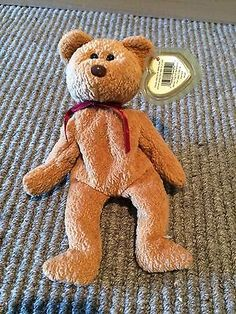 fbca2417490 Ty Beanie Baby Curly Bear w  original tag brown nose black eye